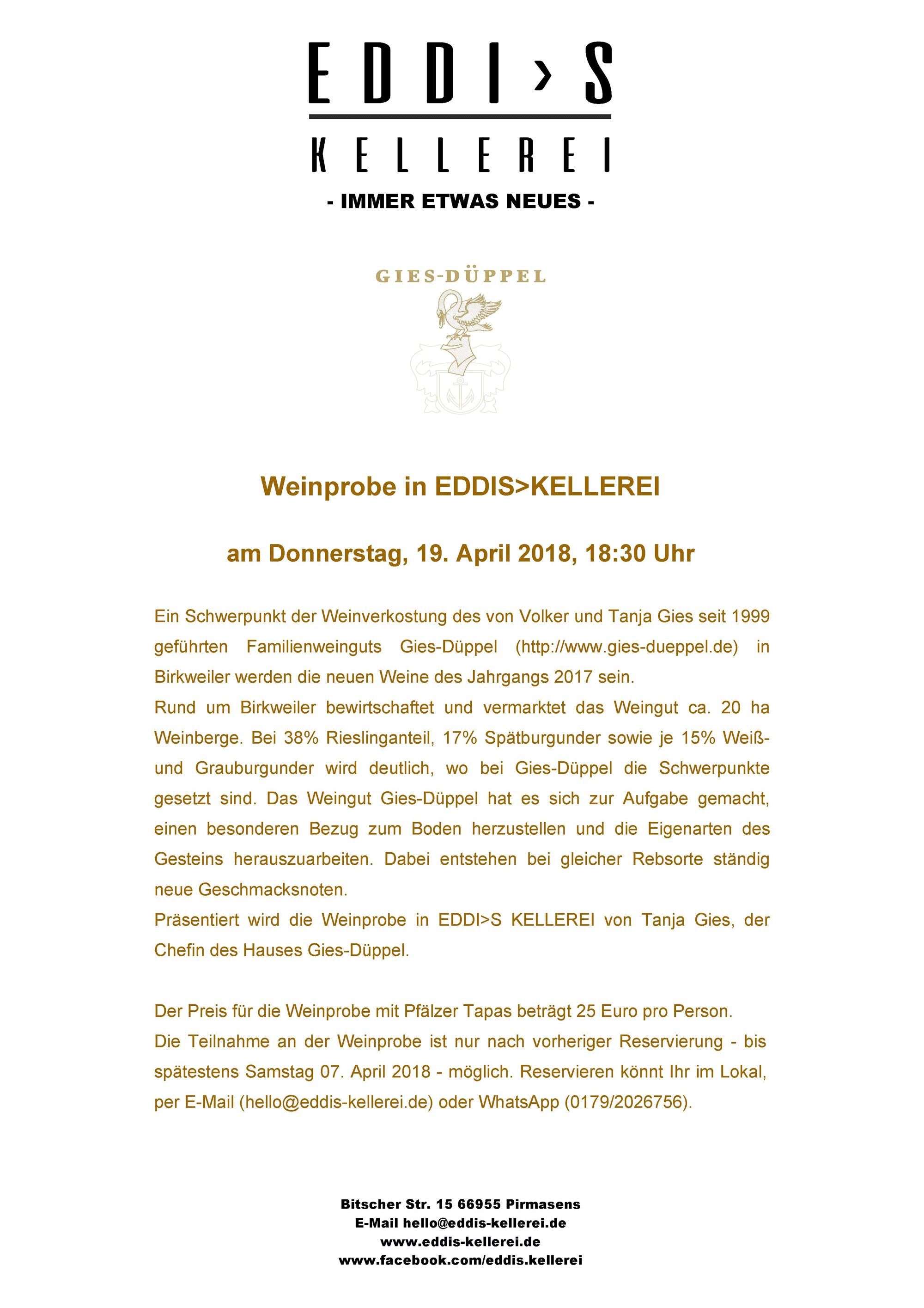 Weinprobe in Eddis Kellerei